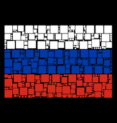 Russian flag pattern of filled square elements vector