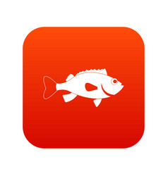 Sea bass fish icon digital red vector