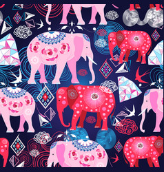 seamless bright print with decorative elephants vector image