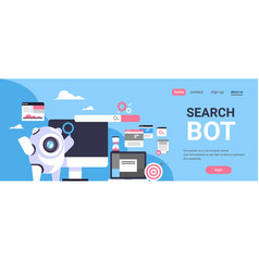 search bot seo engine optimization application vector image