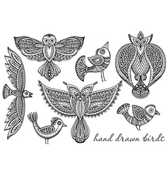 set hand drawn fancy birds in ethnic ornate vector image