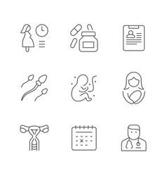 Set line icons pregnancy vector