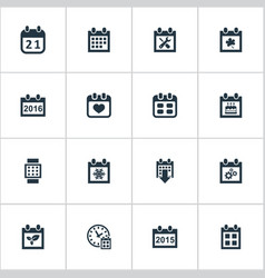 set of simple calendar icons vector image