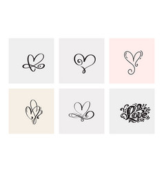 Set of six vintage valentines day hand vector