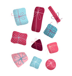 set of various christmas or birthday gifts vector image