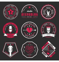 Set of vintage logos of rock music and rock and vector image