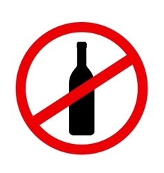 sign stop alcohol with wine bottle vector image