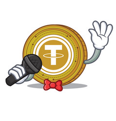 Singing tether coin mascot cartoon vector