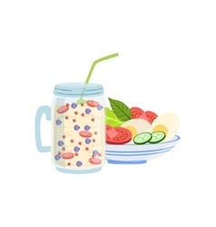 Smoothie And Salad Breakfast Food Drink Set vector image