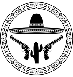 Stencil of mexican sombrero and two pistols vector
