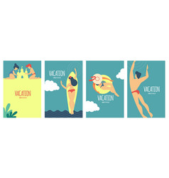 Summer vacation poster set with relaxing people on vector