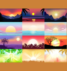 sunset sunrise with hawaii palms or vector image
