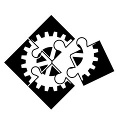 teamwork puzzle icon simple style vector image