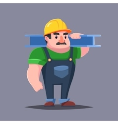 The builder in hardhat with the muscles Strong vector