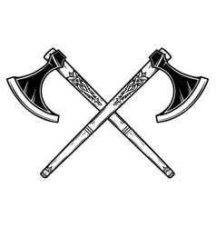two crossed viking axe in engraving style design vector image