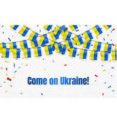ukraine garland flag with confetti on transparent vector image
