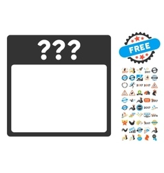 Unknown Calendar Page Flat Icon With Bonus vector