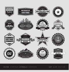 Vintage retro labels black and white isolated vector