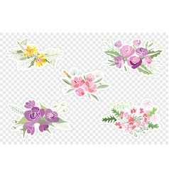 vintage romantic of fashionable bouquets of vector image