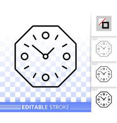 wall clock simple black line icon vector image