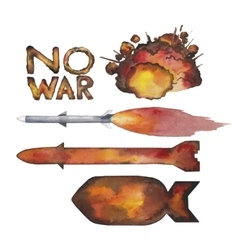 Watercolor nuclear missiles and explosion vector