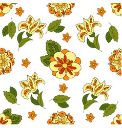 white seamless pattern with spring flowers cover vector image