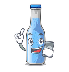 With phone soda water and ice cubes cartoon vector