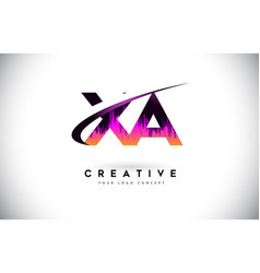 Xa x a grunge letter logo with purple vibrant vector