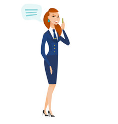 young caucasian stewardess with speech bubble vector image