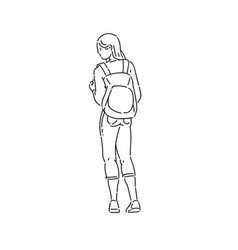 Young teen girl stands looking away with backpack vector