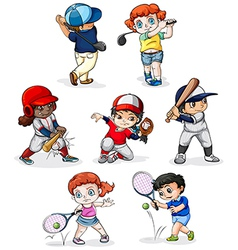 A group of people engaging in different sports vector image