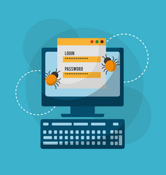 computer login and password bug attack vector image vector image