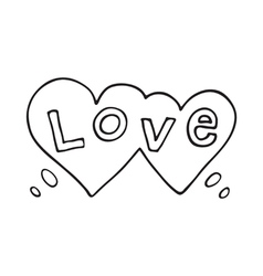 Double heart speech bubble with love word vector image vector image