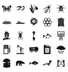 fervent icons set simple style vector image vector image