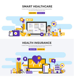 flat design concept banners - smart healthcare vector image vector image
