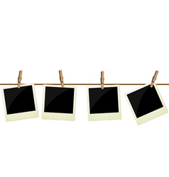 Four polaroid pictures hanging on rope vector image vector image