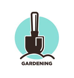 gardening logo design with spade and ground on vector image