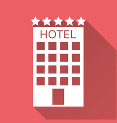 hotel icon isolated on red background with long vector image