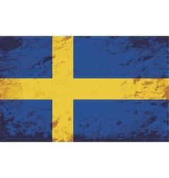 Swedish flag Grunge background vector image