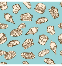 vintage food snacks pattern vector image