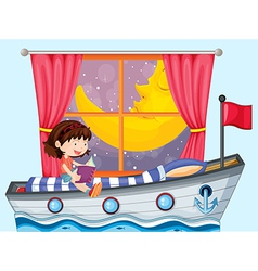 A ship inside the house with a girl reading vector image