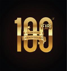 anniversary retro vintage badge 100 vector image