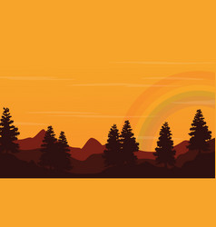 At sunset hill landscape with rainbow silhouette vector