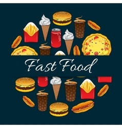 Fast food mednu decoration design vector image