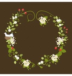 Flower Wreath Love Vintage Romantic Bird Spring vector image