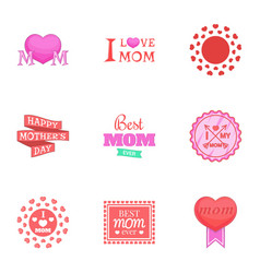 mom day icons set cartoon style vector image vector image
