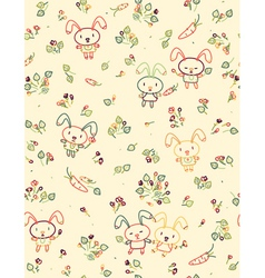 rabbit pattern floral vector image vector image