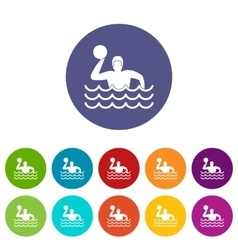 Water polo set icons vector image