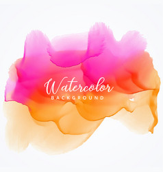bright pink and orange watercolor stain vector image vector image