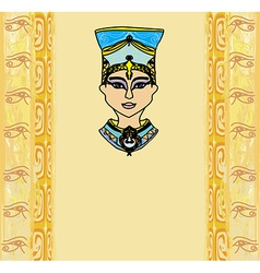grunge frame with Egyptian queen vector image vector image